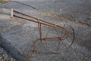 Perfect Image Is Loading ANTIQUE CULTIVATOR HIGH WHEEL PUSH PLOW RUSTIC GARDEN