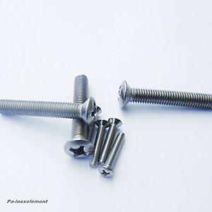 Kreuzschlitzschrauben DIN 966 Linsensenkkopf Edelstahl A2 M2,5 Längen 5-16mm
