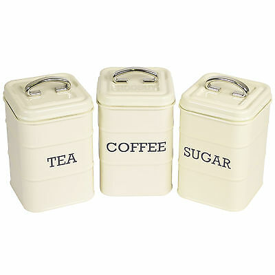 Tea Coffee Sugar Canisters Vintage Cream Enamel Kitchen Storage Jars Pots Retro