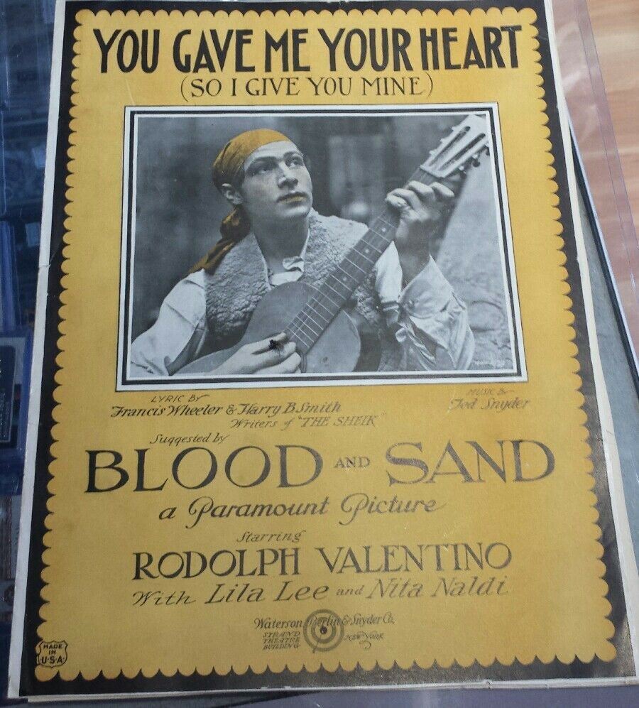 Vintage Rodolph Valentino Sheet Music Blood and Sand 1920s