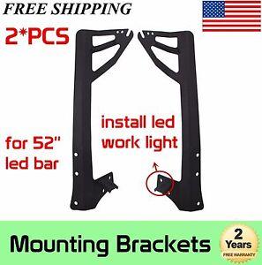 Upper Lower Corner Dual Mounting Brackets For 52inch LED Light Bar 07-17 Jeep JK