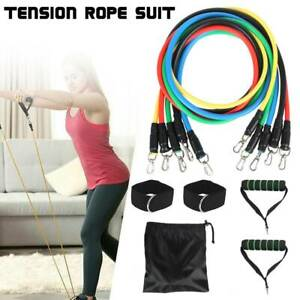 11PCS Resistance Gym Bands Set Pull Rope Home Workout Fitness Exercise Equipment