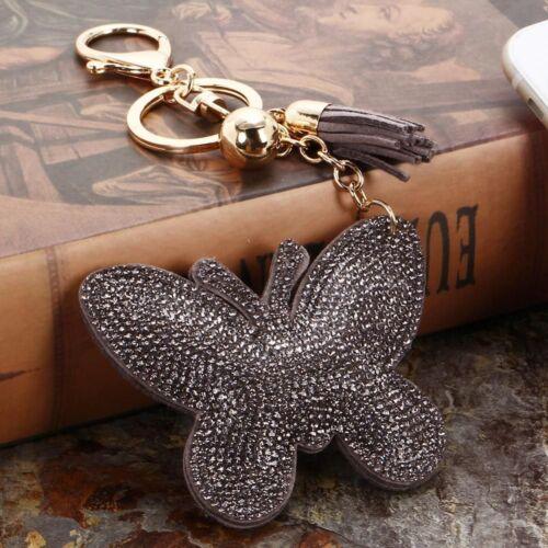 Butterfly Pendant Leather Rhinestone Women Fashion Key Chain Bag Keychain Gift