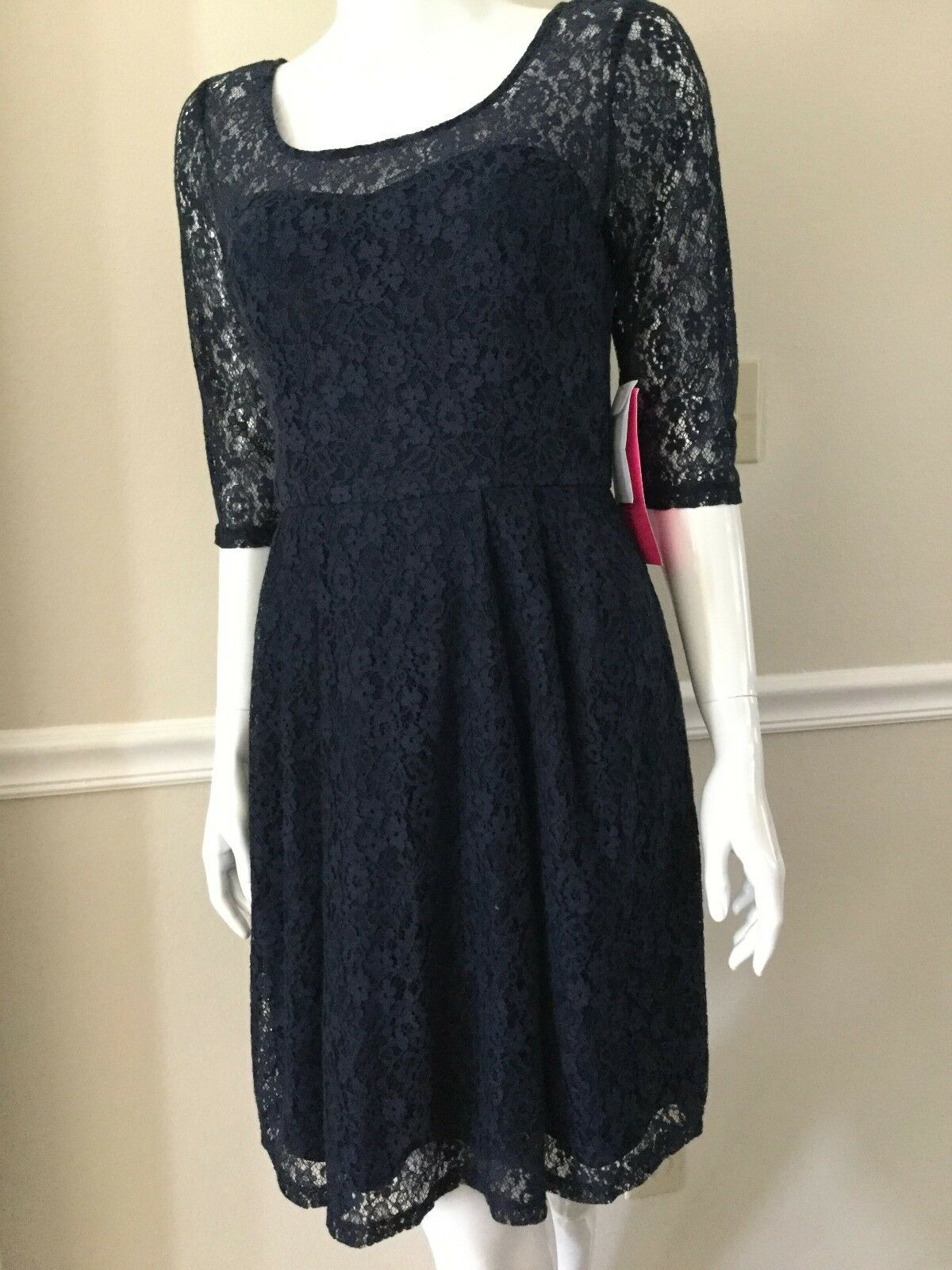 NWT BETSEY JOHNSON WOMEN Sz8 LACE ILLUSION YOKE 3 4 SLEEVE DRESS blueE NAVY