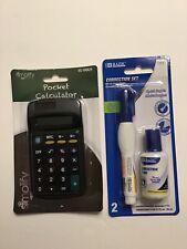 2 Pc Bazic Correction Fluid And Pen Set Free Pocket Calculator