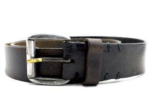 Audacieux Vintage Handmade Cuir Véritable Ceinture Noir Marron Taille 32-afficher Le Titre D'origine Style à La Mode;