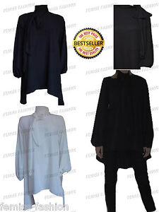 WOMENS-ELEGANT-PUSSY-BOW-TIE-NECK-BLOUSE-LADIES-SHIRT-TOP-DRESS-DESIGNER-8-14