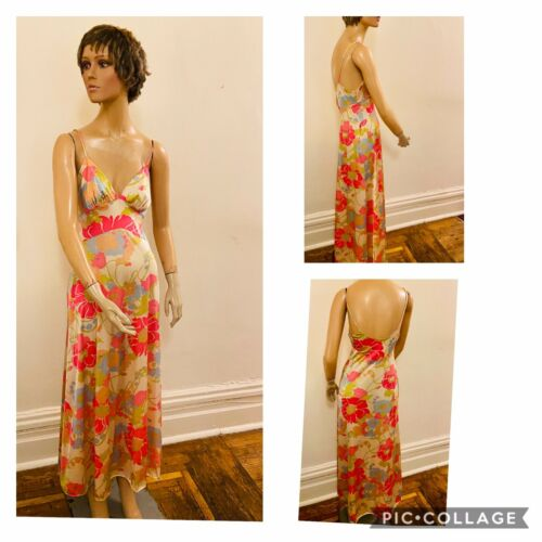 80's Dramatic Pastel Floral Silky, Slinky Nightgow