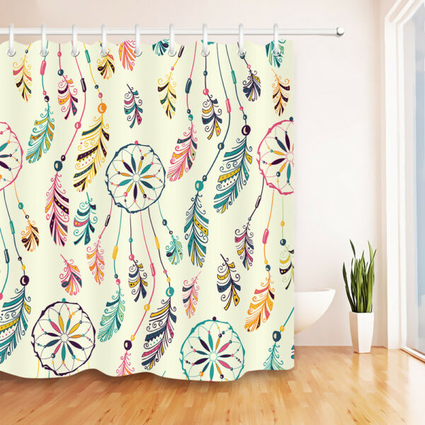 Beads Feather Dream Catcher Shower Curtain Set Bathroom Mat Waterpoof Fabric 72 Hover To Zoom