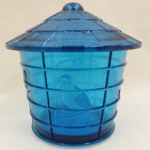 Vintage-IMPERIAL-Teal-ELECTRIC-BLUE-Glass-BIRD-CAGE-Covered-JAR-Canister-SUMMIT
