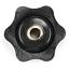 4pcs M6 Black 31mm 6 Point Star Head Knob Female Thread Grip Screw Low Profile