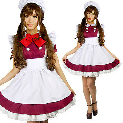 Lolita Japanese School Girl Maid Costume Anime Halloween Cosplay Red Uniform RED