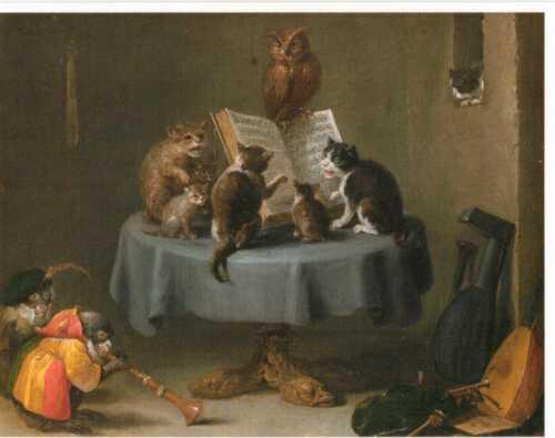 Postkarte Malerei von David Teniers d.J 1635 Katzenkonzert