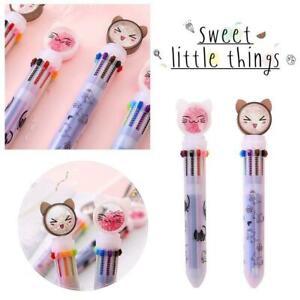 10 Colors Cat Ballpoint Pen Children Kids Gifts Pen School New Supplies J7Y0