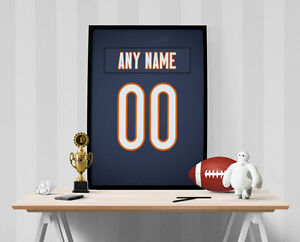 Chicago Bears Jersey Poster - Personalized Name & Number FREE US SHIPPING