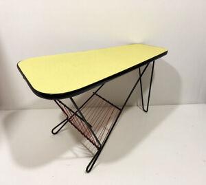 énorme réduction 94f14 e0959 Détails sur Table basse tripode vintage formica Jaune design années 50's  60's