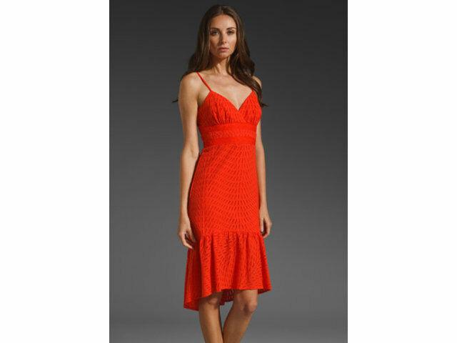 278 Trina Turk Turk Turk Red Azteca Gracia Hi Low Cotton Eyelet Sun Dress 4 NEW T244 a0dafd