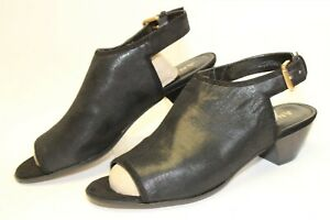 Anne-Klein-NEW-Glenys-Womens-10-M-Black-Microfiber-Peep-Toe-Heels-Shoes