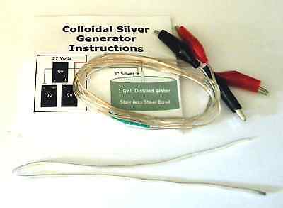 *8X SILVER* Colloidal Silver Generator: With 2 ft of .999 fine silver (24+ gal.)