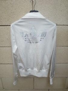 Détails sur Veste ADIDAS rétro vintage girl femme blanc argenté TREFOIL jacket 34 tracktop