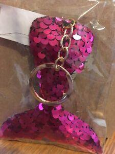 Pink glittery mermaid tail keychain