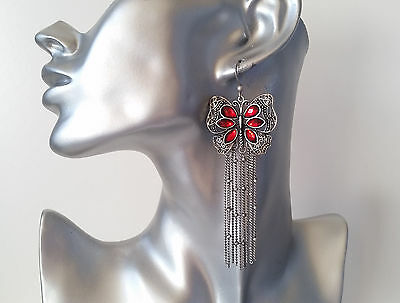Gorgeous vintage - silver tone & red diamante butterfly long chain drop earrings