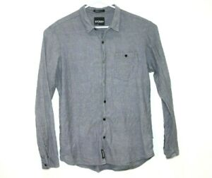 Stussy-Grey-NYLTLA-Men-039-s-Dress-Shirt-Size-Large