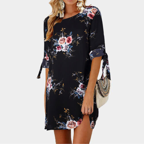 Womens Floral Print Bowknot Sleeves Cocktail Party Beach Casual Short Mini Dress