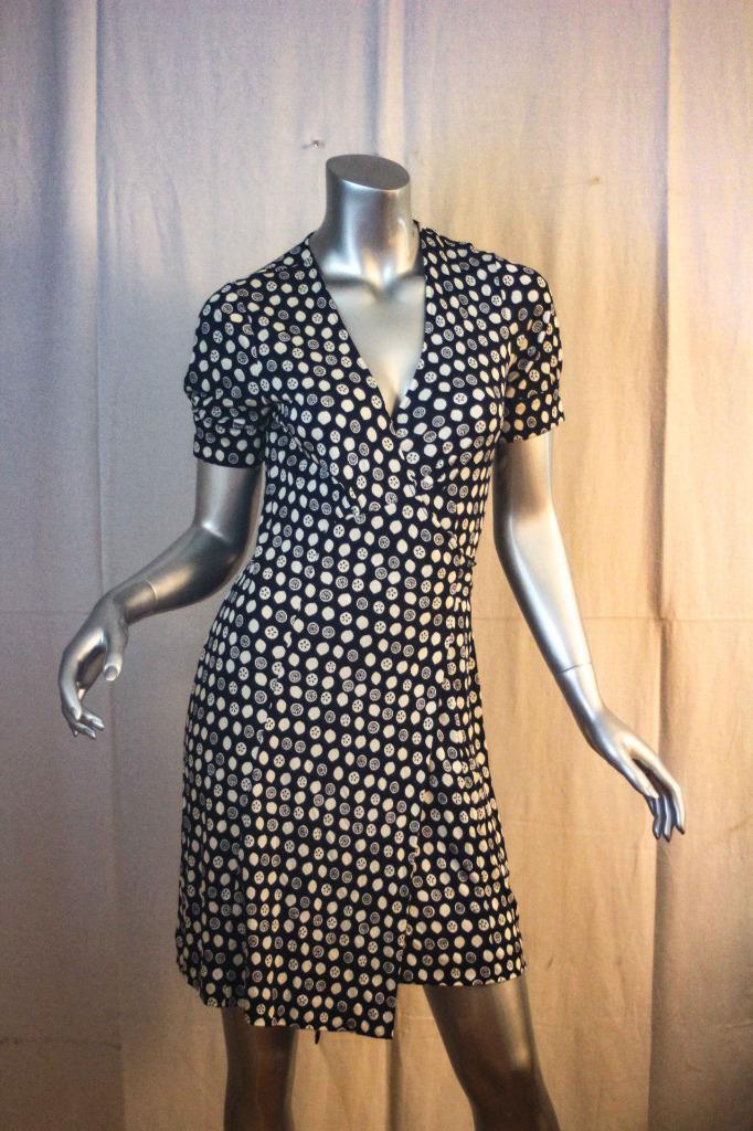 Womans LILLY PULITZER  SQUIRT  Citrus Navy & Weiß Downie Wrap Dress Größe 4