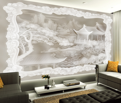 3D Weiß Pavilion Building Paper Wall Print Wall Decal Wall Deco Indoor Murals