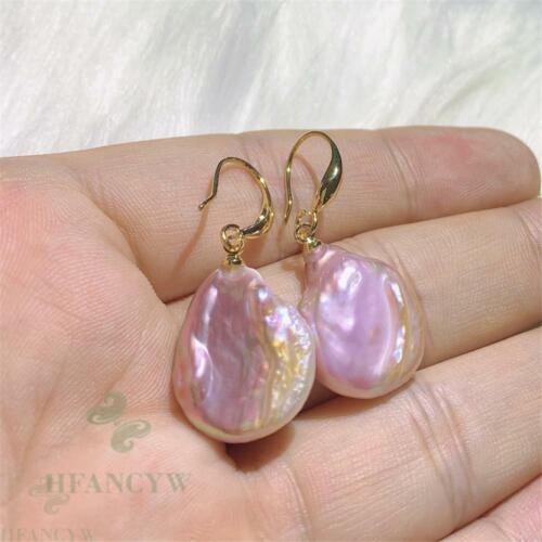 Color Baroque Pearl Earring 18 K Gold  Ear Drop Wedding Accessories Dangle Hook