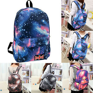 Multicolor-Women-Canvas-Star-Universe-Space-Backpack-Girls-School-Travel-Backbag
