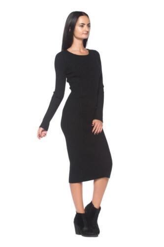 Details about  /Basic Black Thick Ribbed Knit Stretchy Fitted Pencil Sweater 297 mv Dress S M L