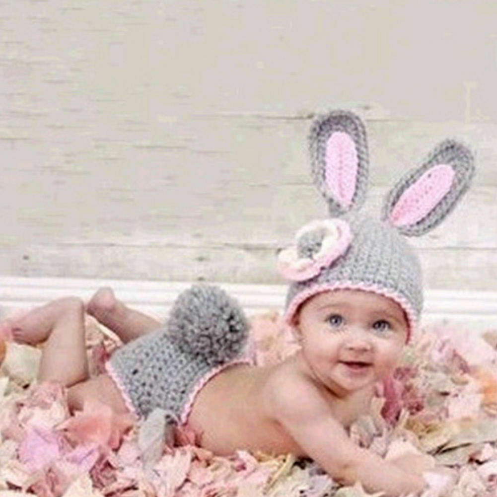 6 to 12m Blue Baby Boy Hat Crochet Spring Baby Hat  Blue Bunny Ears Costume Rabbit Hat Photograpy Prop  Costume  Crochet Spring Gifts
