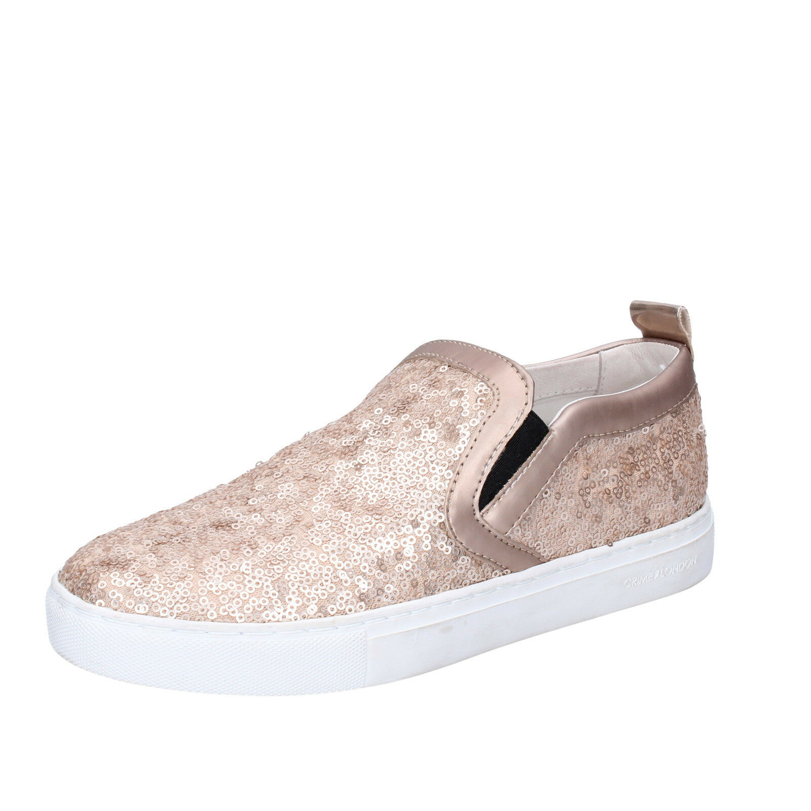 Femme   chaussures  CRIME LONDON 6 (EU 39) slip on Rose pailettes leather BT457-39
