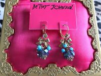 Betsey Johnson Gray Blue Crystal Ab Glass Bead Cluster Turquoise Gold Earrings
