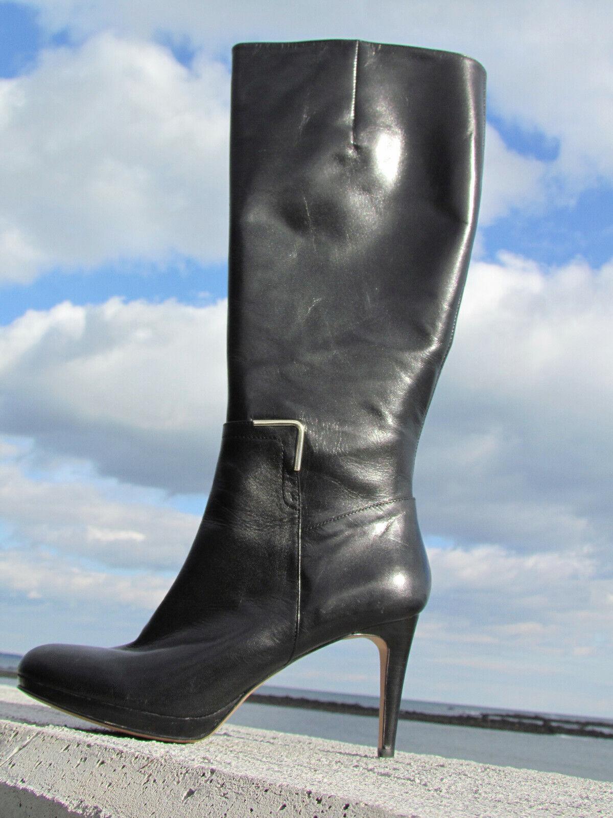 ce4bc69a3d5 Nuevo 11M Nine Evah Negro Cuero botas 4 Tacones Zapato Taco Aguja Alto Sexy  Clásico West owmgve4247-Botas