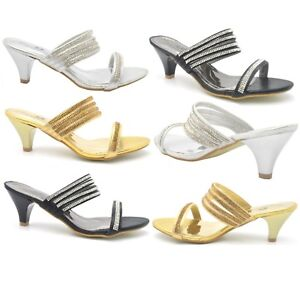 82bc07ad7d1d WOMENS PARTY WEDDING BRIDAL LADIES LOW HEEL EVENING SANDALS SILVER ...