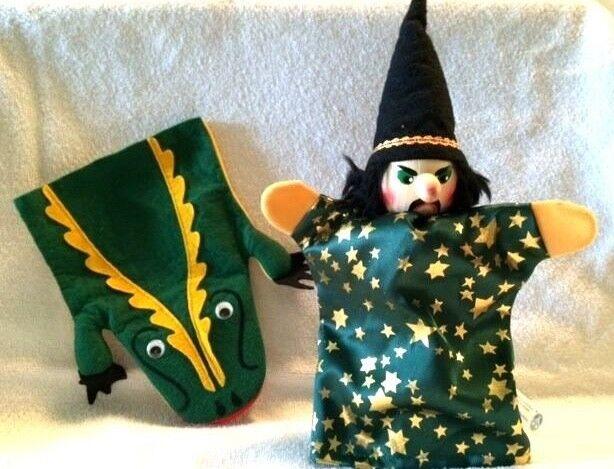 Vintage KERSA Puppets Sorcerer Wizard & Chattering Crocodile Alligator Germany