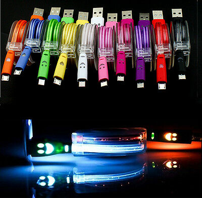 Colorful 80cm Retractable LED Light Micro USB Data & Sync Charger Cable Fr Phone