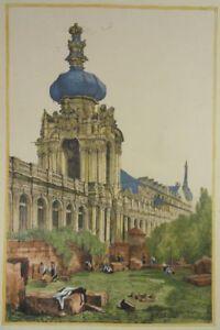 DRESDEN-ZWINGER-KRONENTOR-LITHOGRAPHIE-PROUT-BAROCK-POPPELMANN-PERMOSER-1833-R