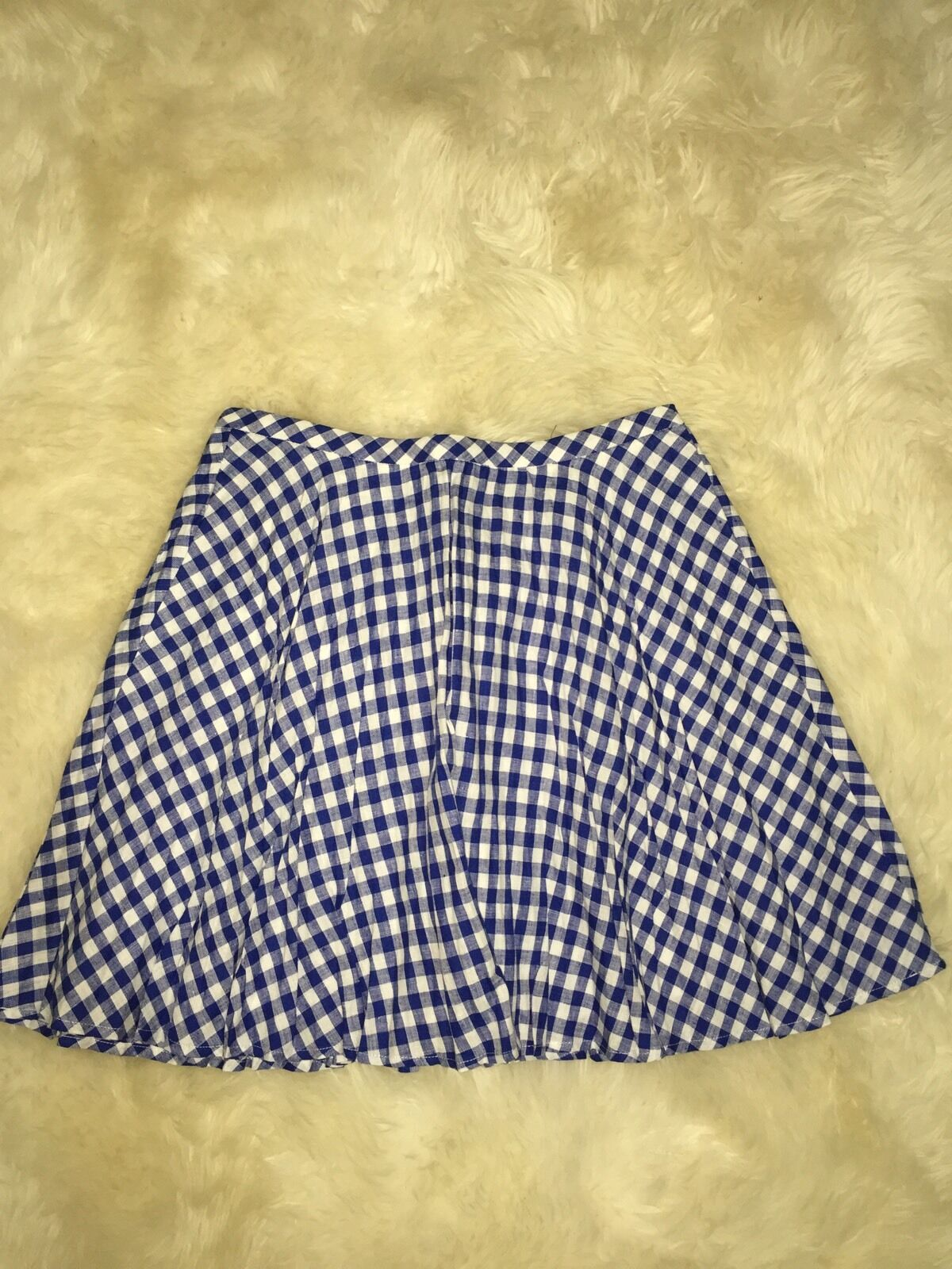 J Crew Gingham Pleated Mini Skirt in 100% Linen NWT  88 Size 2  F1123