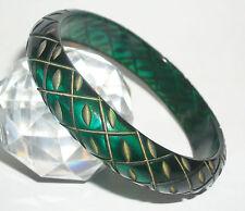 DAZZLING *AQUA/GREEN*TRUE Deep Carved Vtg Bakelite BRACELET