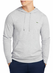 417ae9dfa489 Lacoste Men s Silver Chine Cotton Jersey Long Sleeve Pullover Hooded ...