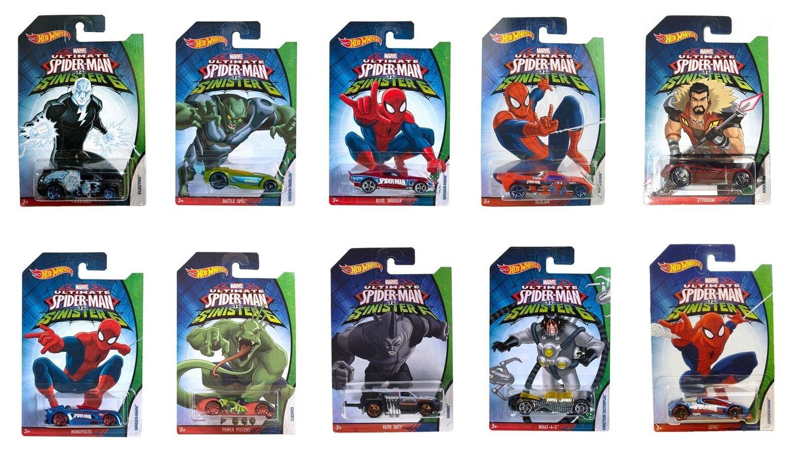 Hot Wtalons Modèle Moulé Spider-Man contre Sinister 6 - Complet 10 Voiture Set