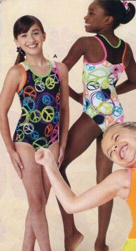 NWT Axis Gymnastic Dance Leotard Peace Sign Print Black or White Girls Szs 74039