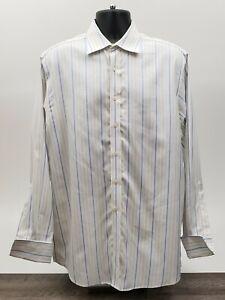 Charles Tyrwhitt Men's Shirt Size 16 / 35 French Cuff White Yellow Blue Stripe