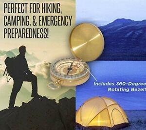Brass Camping Compass Outdoor Hiking Navigation Pocket Keychain GIFT BRUJULA