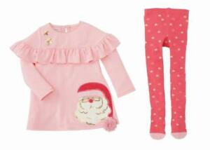 ab328b46ece9 Mud Pie Kids Pink Santa Christmas Dress with Chest Ruffle and Tights ...