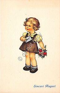 Cartolina-Postcard-Illustrata-Sinceri-Auguri-bambina-lettera-fiori
